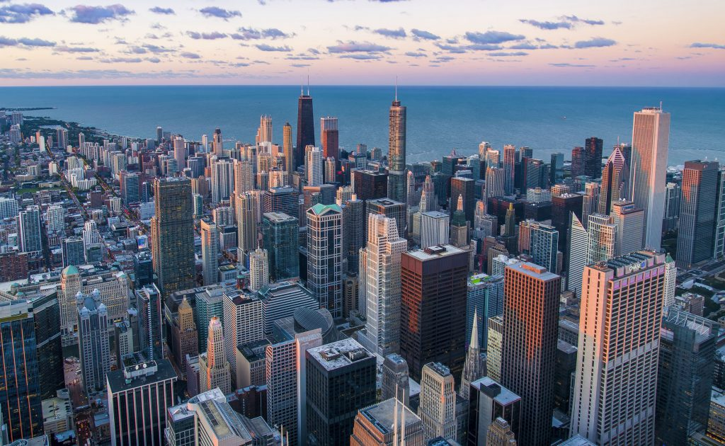 aerial of Chicago Skyline at sunset